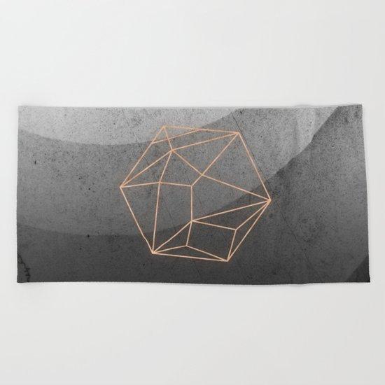 Geometric Solids on Marble Beach Towel