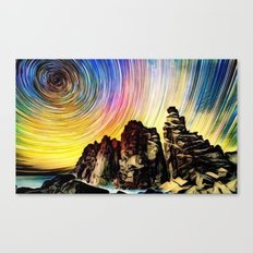Epic Sunset Aurora Lights with Mountains and River Canvas Print