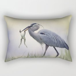Great Blue Heron with a Bull Frog in its Beak Rectangular Pillow