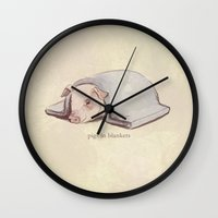 blankets Wall Clocks featuring Pigs In Blankets by coalotte