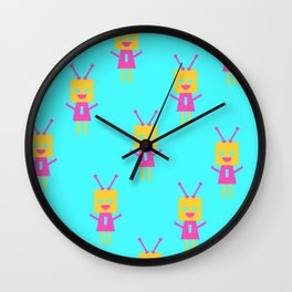 Happiest Little Robot (blue) Wall Clock