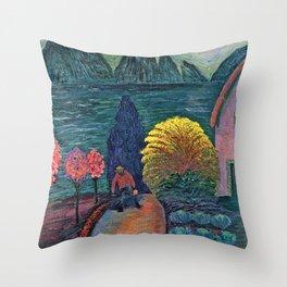 The Yellow Bush floral landscape painting by Marianne von Werefkin Throw Pillow