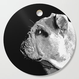 english bulldog dog vector art black white Cutting Board