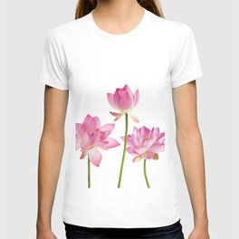 Lotos Waterlilies Flowes pink T-shirt