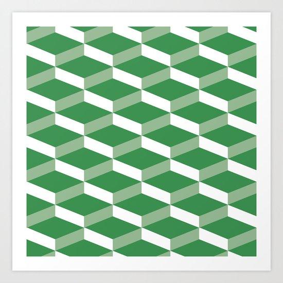 3D Green Art Print