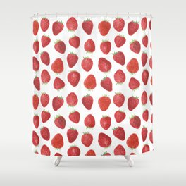 Strawberries watercolor Shower Curtain