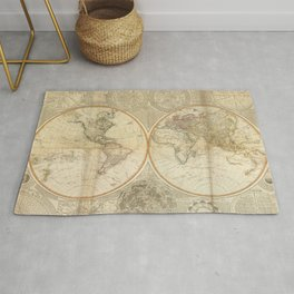 Vintage Map of The World (1799) 2 Rug
