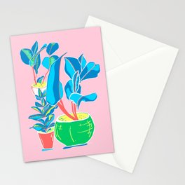 Perky Plants - Pink Blue Multi Stationery Cards