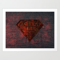 Rustic Red Superman Art Print