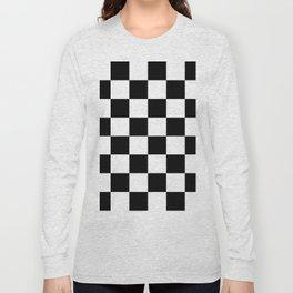 Contemporary Black & White Gingham Pattern Long Sleeve T-shirt