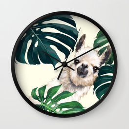 Sneaky Llama with Monstera Wall Clock