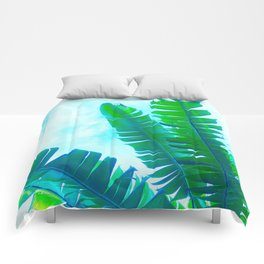 Vibrant Banana Leaves - Tropical Green and blue Comforters