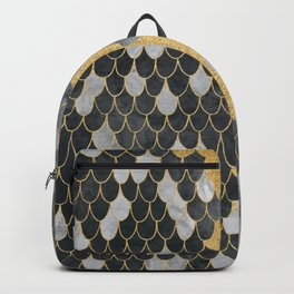 Marble Storm Cloud // Gold Streak Lightning Bolt Black and Gray Watercolor Gradient Decor Backpack