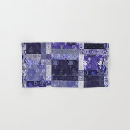 Lotus flower blue stitched patchwork - woodblock print style pattern Hand & Bath Towel