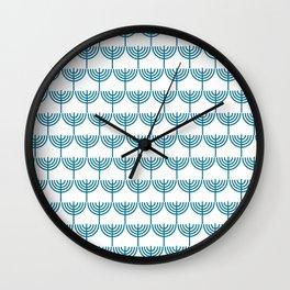 Hanukkah Menorah Pattern in Teal Blue and White Wall Clock