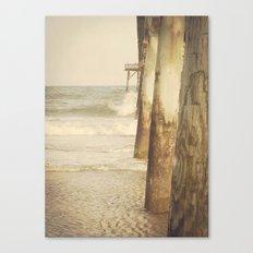 Fishing Pier Surf City Beach Topsail Island NC Lomo Vintage Canvas Print