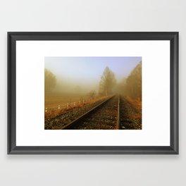 Foggy Rail Road Framed Art Print