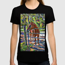 Abstract horse standing at gate T-shirt
