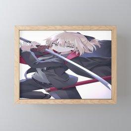 anime anime girls digital art artwork 2D portrait display vertical 100percent Fate Series FGO Okita Souji blonde suits sword Framed Mini Art Print