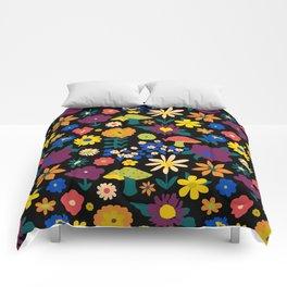 60's Country Mushroom Floral in Black Comforters