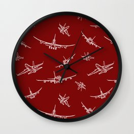 Airplanes on Burgundy Wall Clock