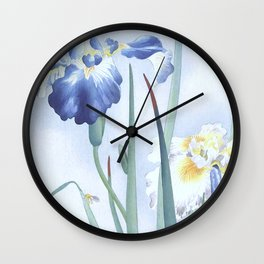 Bee And Blue Iris Flowers - Vintage Japanese Woodblock Print Art By Ohara koson Wall Clock