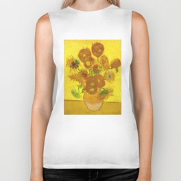 Vincent Van Gogh Fifteen Sunflowers In A Vase Biker Tank