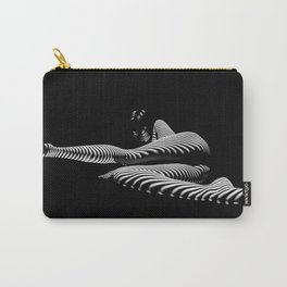 8428-KMA BW Art Nude Abstract Zebra Stripe Woman Long Legs Carry-All Pouch
