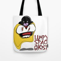 lumpy space princess Tote Bags featuring Lumpy Space Ghost by The Geekerie