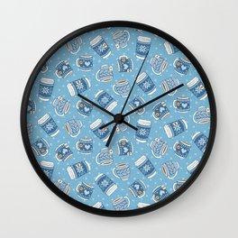 Cozy Blue Mugs Wall Clock