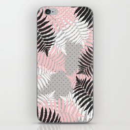 Ferns on Gold Polka Dots iPhone Skin