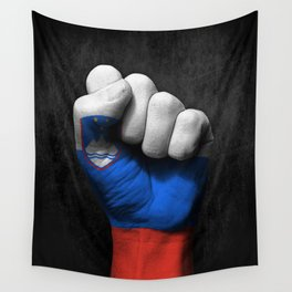 Slovenian Flag on a Raised Clenched Fist Wall Tapestry