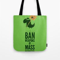 jurassic park Tote Bags featuring Occupy Jurassic Park by AGRIMONY // Aaron Thong