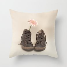 Brown Converse Boots and Pink Flower (Retro Still Life Photography)  Throw Pillow