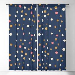 Hipster navy blue faux gold glitter modern polka dots Blackout Curtain