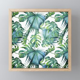 Blue Jungle Leaves, Monstera, Palm #society6 Framed Mini Art Print