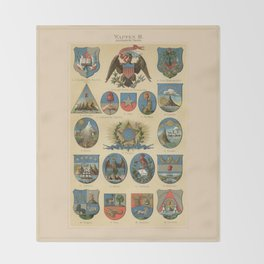 Coat of arms lithograph 1897 vintage illustration Throw Blanket