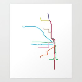 Chicago CTA Map, Chicago Train Map Art, Chicago L Train Map, Chicago Art, Chicago Wall Art, Map Art Art Print