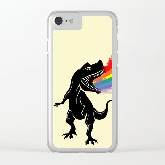 dinosaur rainbow Clear iPhone Case