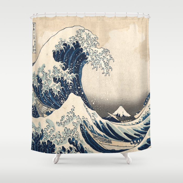 The Great Hokusai Wave Shower Curtain