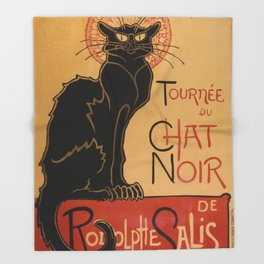 Le Chat Noir The Black Cat Poster by Théophile Steinlen Throw Blanket