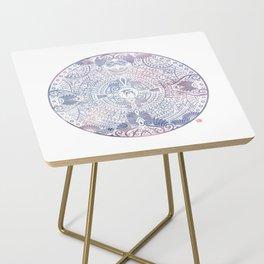 deer mandala (white) Side Table