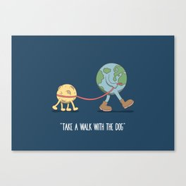 take a walk with the dog Canvas Print