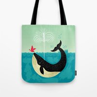 cup Tote Bags featuring The Bird and The Whale by Oliver Lake