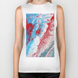 Marble Red Blue Paint Splatter Abstract Painting by Jodilynpaintings Red Biker Tank