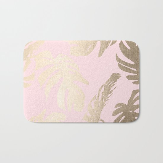 Simply Tropical Palm Leaves White Gold Sands on Flamingo Pink Bath Mat