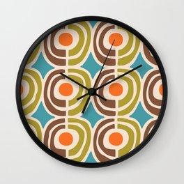 Mid Century Modern Solar Flares Pattern Wall Clock