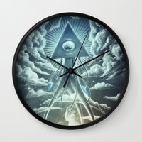 war Wall Clocks featuring War Of The Worlds I. by Dr. Lukas Brezak