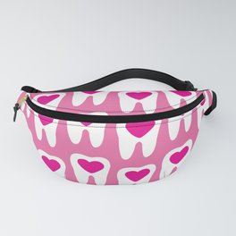 Teeth pattern with hearts in the center on pink background Fanny Pack