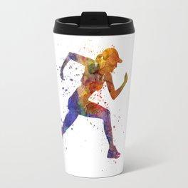 Woman runner jogger running Travel Mug